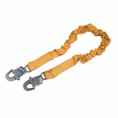 3M DBI-SALA Fall Protection 1244306 ShockWave™2 Elastic Variable Shock Absorbing Lanyard, 130 to 310 lb Load Capacity, 6 ft L, Polyester Webbing Line, 1 Legs, Snap Hook Anchorage Connection, Snap Hook Harness Connection Hook