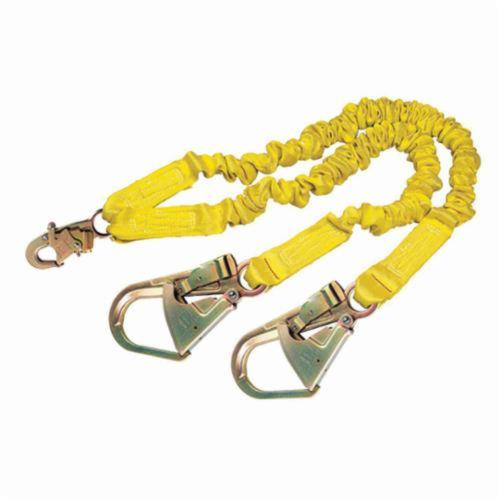 3M DBI-SALA Fall Protection 1244412 ShockWave™2 Elastic Tie-Off Variable Shock Absorbing Lanyard, 130 to 310 lb Load Capacity, 6 ft L, Polyester Webbing Line, 2 Legs, Snap Hook Anchorage Connection, Snap Hook Harness Connection Hook