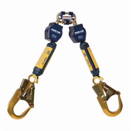 3M DBI-SALA Fall Protection Nano-Lok™ 3101277 Quick-Connect Self-Retracting Twin Leg Lifeline With Self-Locking Rebar Hook, 420 lb Load Capacity, 6 ft L, Specifications Met: ANSI A10.32, ANSI Z359.1, ANSI Z359.14, OSHA 1910.66, OSHA 1926.502