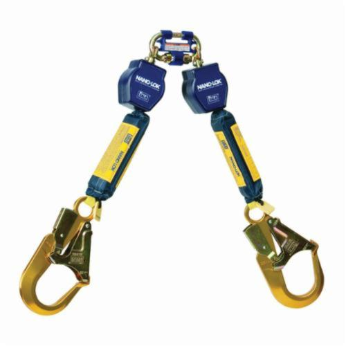 3M DBI-SALA Fall Protection Nano-Lok™ 3101280 Quick-Connect Self-Retracting Twin Leg Lifeline With Self-Locking Rebar Hook, 420 lb Load Capacity, 6 ft L, Specifications Met: ANSI A10.32, ANSI Z359.1, ANSI Z359.14, OSHA 1910.66, OSHA 1926.502
