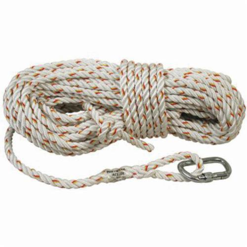 3M DBI-SALA Fall Protection AC215A1 Vertical Rope Lifeline With Carabiner, 50 ft L