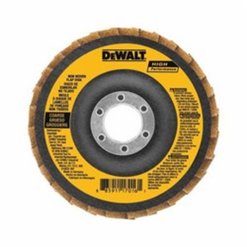 DeWALT® DAAB7GCR05 Non-Woven Flap Disc, 4-1/2 in Dia, 7/8 in Center Hole, 40 Grit, Coarse Grade, Aluminum Oxide Abrasive, Type 27 Disc