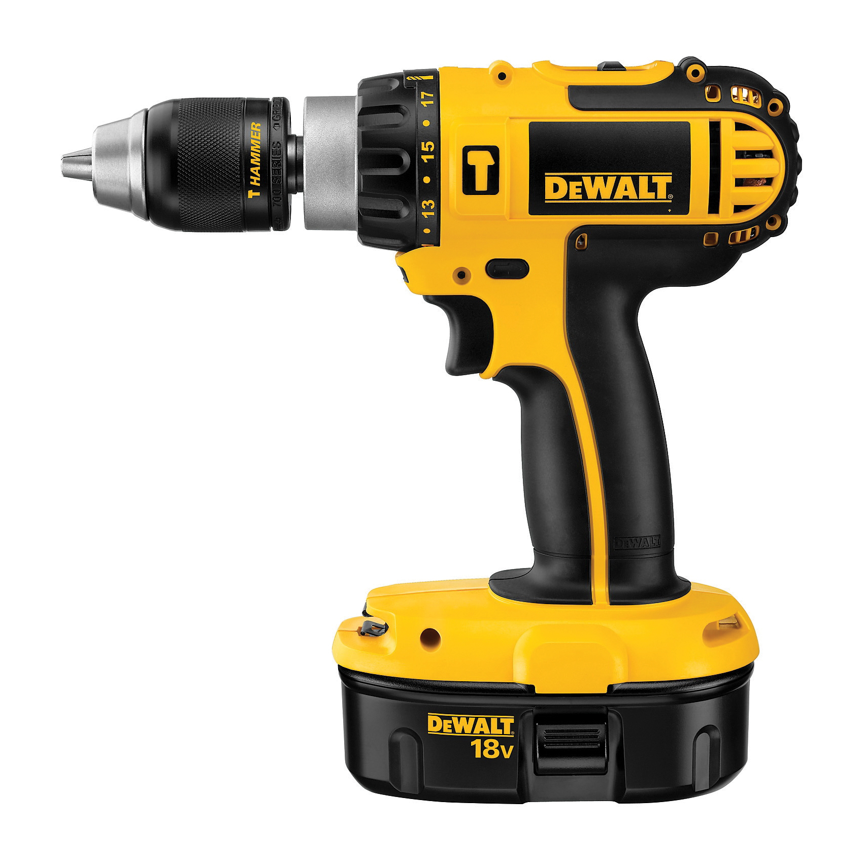DeWALT® DC725KA Compact Cordless Hammer Drill Kit, 1/2 in Metal Ratcheting Chuck, 18 VDC, 0 to 500/0 to 1700 rpm No-Load, NiCd Battery