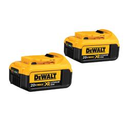 DeWALT® 20V MAX* DCB204-2 XR® 2-Piece High Capacity Premium Slide Cordless Battery Combo Pack, 4 Ah Lithium-Ion Battery, 20 VDC, For Use With DeWALT® 20V MAX* Lithium-Ion Chargers and Power TMAX*