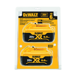 DeWALT® 20V MAX* MATRIX™ XR™ DCB206-2 Premium Slide-On Battery Pack, 6 Ah Lithium-Ion Battery, 20 VAC Charge, For Use With DeWALT® 20 V Tools