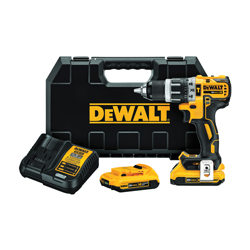 DeWALT® 20V MAX* DCD796D2 XR™ Compact Lightweight Cordless Hammer Drill Kit, 1/2 in Keyless/Metal Ratcheting Chuck, 20 VDC, 0 to 550/0 to 2000 rpm No-Load, Lithium-Ion Battery
