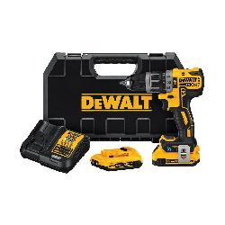 DeWALT® 20V MAX* Tool Connect™ DCD797D2 XR® Compact Cordless Hammer Drill Kit, 1/2 in Keyless Chuck, 20 VDC, 0 to 2000 rpm No-Load, Lithium-Ion Battery