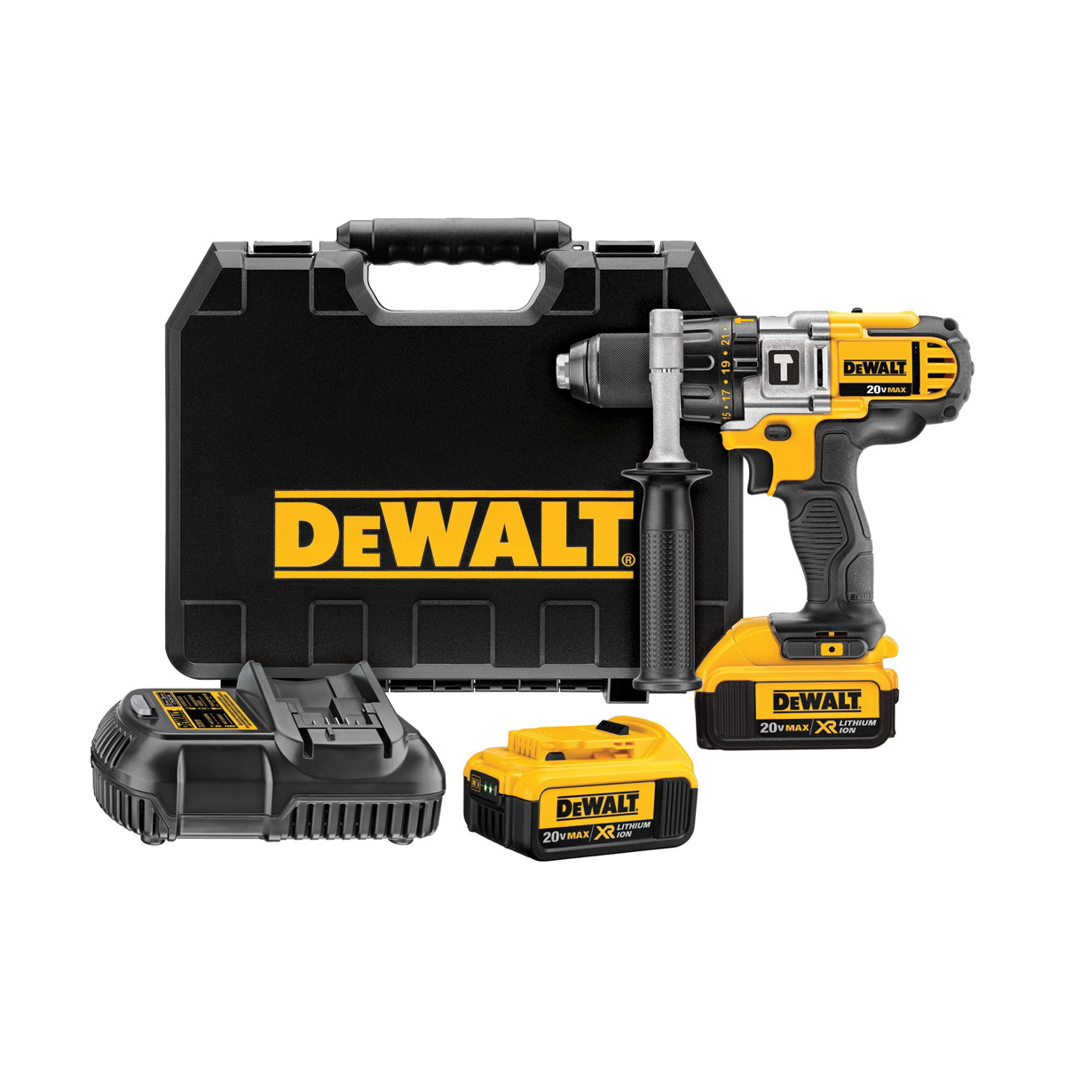 DeWALT® DCD985M2 3-Speed Premium Cordless Hammer Drill Kit, 1/2 in Metal Ratcheting Chuck, 20 VDC, 0 to 575/0 to 1350/0 to 2000 rpm No-Load, Lithium-Ion Battery