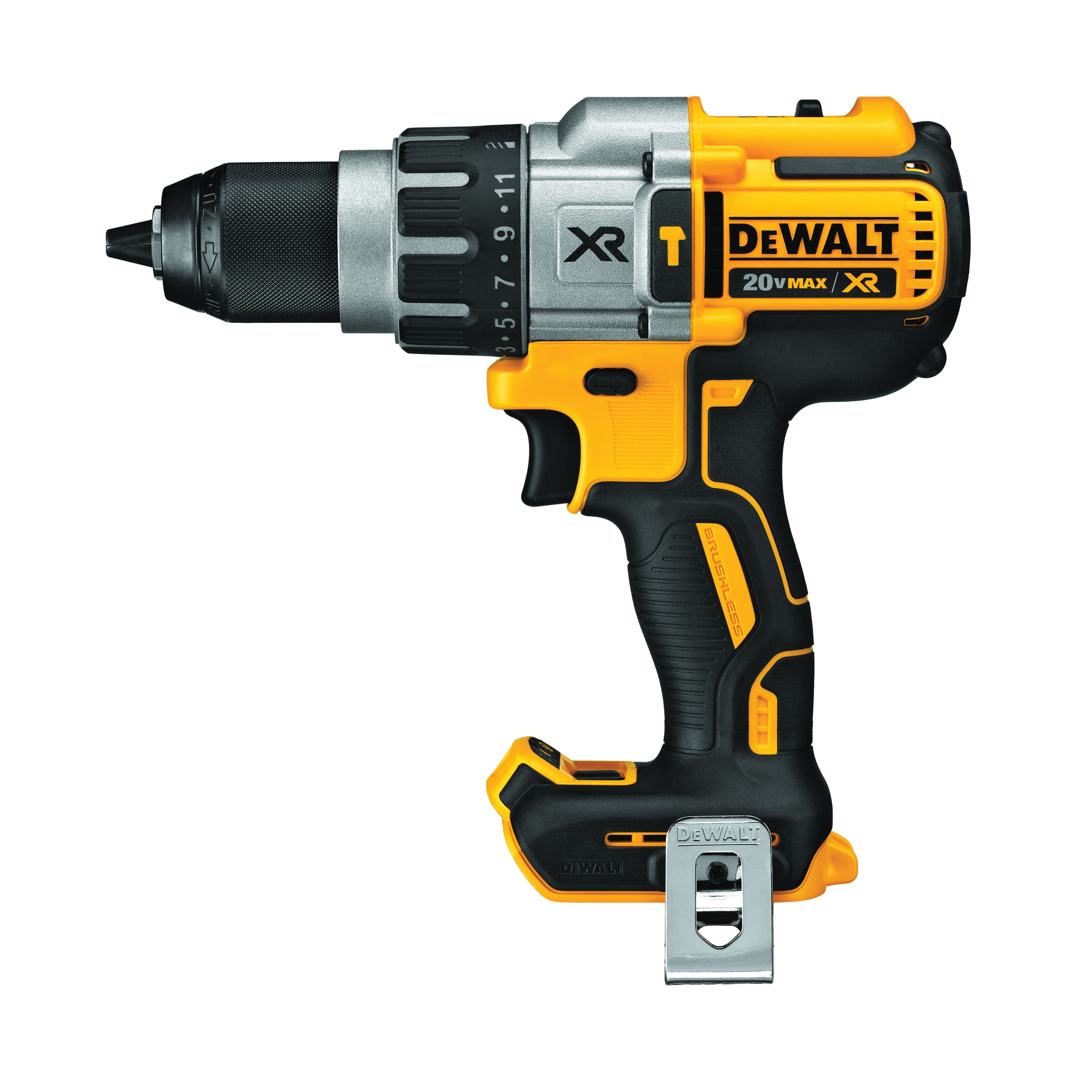 DeWALT® 20V MAX* DCD996B XR® Brushless Cordless Hammer Drill, 1/2 in Metal Ratcheting Chuck, 20 VDC, 0 to 450/0 to 1300/0 to 2000 rpm No-Load, Lithium-Ion Battery