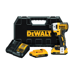 DeWALT® 20V MAX* DCF887D2 XR™ Compact Lightweight Cordless Impact Driver Kit, 1/4 in Quick-Release Drive, 3600 ipm, 1825 in-lb Torque, 20 V