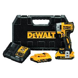 DeWALT® 20V MAX* Tool Connect™ DCF888D2 XR® Brushless Cordless Impact Driver Kit, 1/4 in Straight Drive, 3800 bpm, 1825 in-lb Torque, 20 VDC, 5.3 in OAL