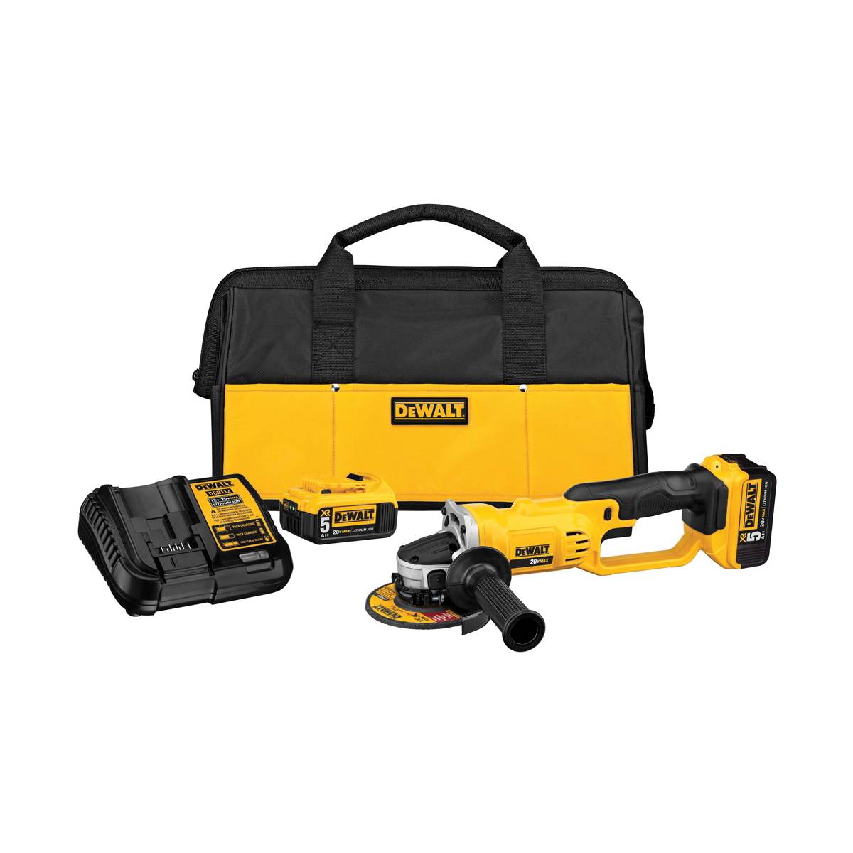 DeWALT® DCG412P2 Cordless Cut-Off Tool Kit, 4-1/2 in Dia Wheel, 5/8 in Arbor/Shank, 18 VDC, Lithium-Ion Battery, 2 Batteries, Trigger Switch