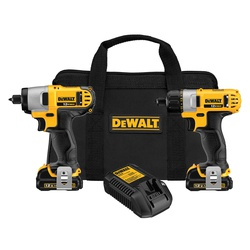 DeWALT® DCK210S2 Compact Cordless Combination Kit, Tools: Impact Driver, Screwdriver, 12 VDC, 1.5 Ah Lithium-Ion