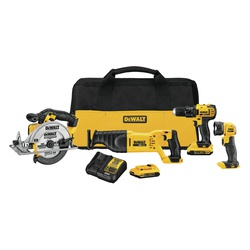 DeWALT® 20V MAX* MATRIX™ DCK423D2 4-Tool Cordless Combination Kit, Tools: Drill, Reciprocating Saw, Circular Saw and Worklight, 20 VDC, 2 Ah Lithium-Ion