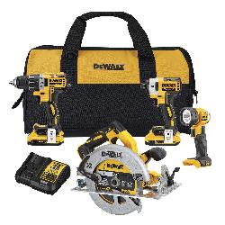 DeWALT® 20V MAX* MATRIX™ DCK483D2 4-Tool Cordless Combination Kit, Tools: Drill, Impact Driver, Circular Saw, Worklight, 20 VDC, 2 Ah Lithium-Ion