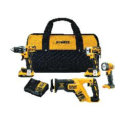 DeWALT® 20V MAX* MATRIX™ DCK484D2 4-Tool Cordless Combination Kit, Tools: Drill, Impact Driver, Reciprocating Saw, Worklight, 20 VDC, 2 Ah Lithium-Ion