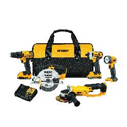 DeWALT® 20V MAX* MATRIX™ DCK521D2 5-Tool Cordless Combination Kit, Tools: Drill, Impact Driver, Circular Saw, Grinder, Worklight, 20 VDC, 2 Ah Lithium-Ion