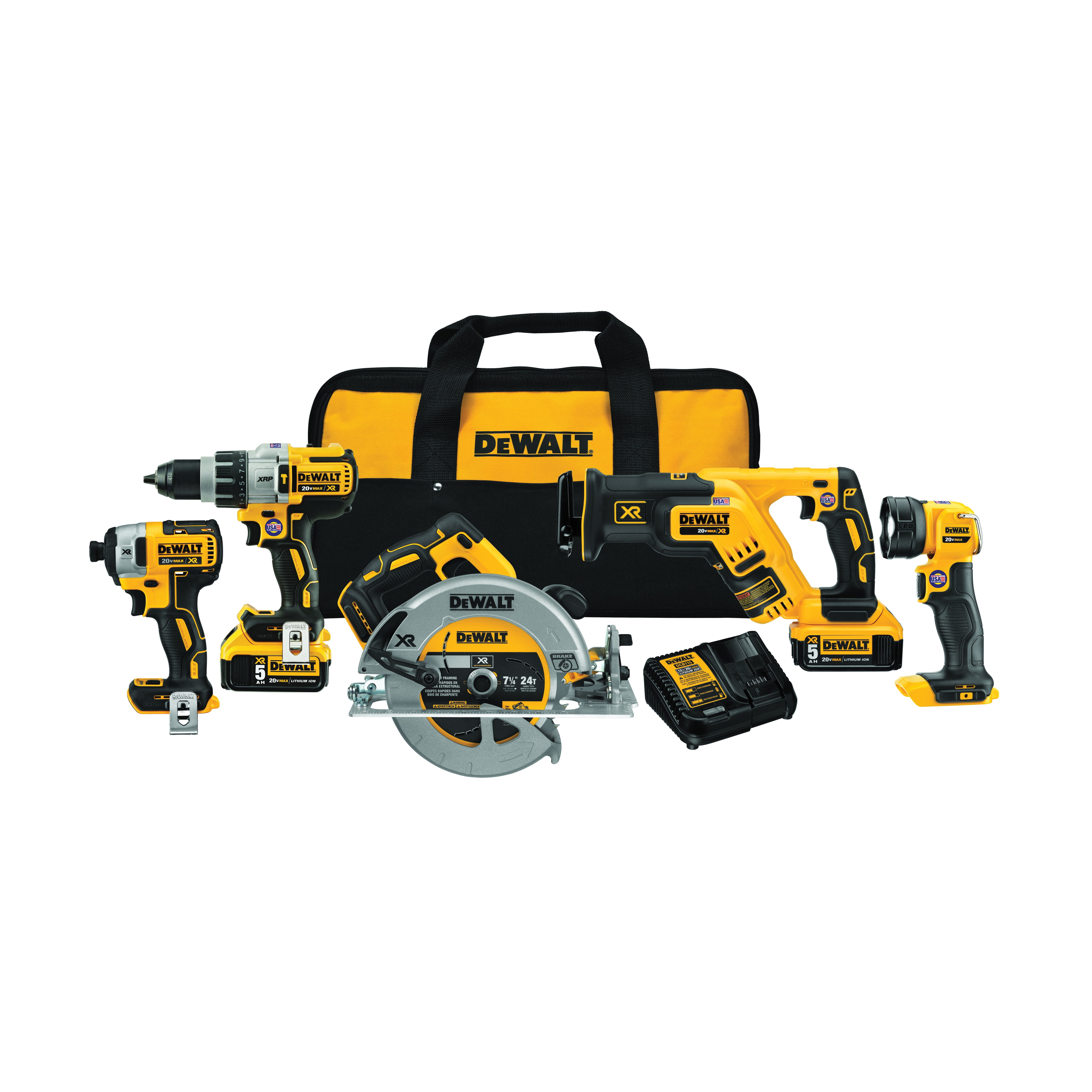 DeWALT® 20V MAX* MATRIX™ XR™ DCK594P2 Cordless Combination Kit, Tools: Hammer Drill/Driver, Impact Driver, 20 V, 5 Ah Lithium-Ion