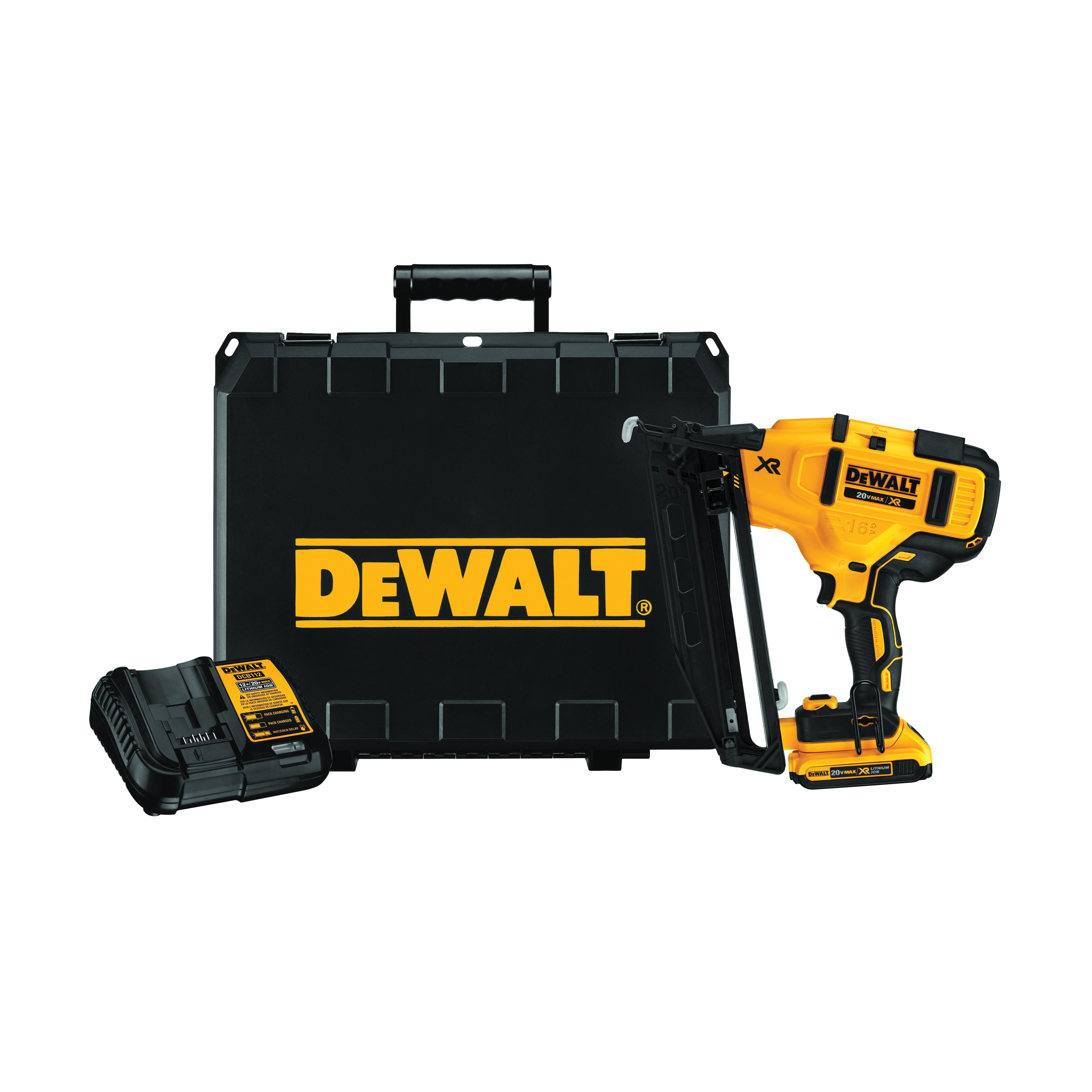 DeWALT® 20V MAX* DCN660D1 Brushless Cordless Finish Nailer Kit, 1-1/4 to 2-1/2 in Fastener, 110 Nails Magazine, 11.7 in OAL, Battery