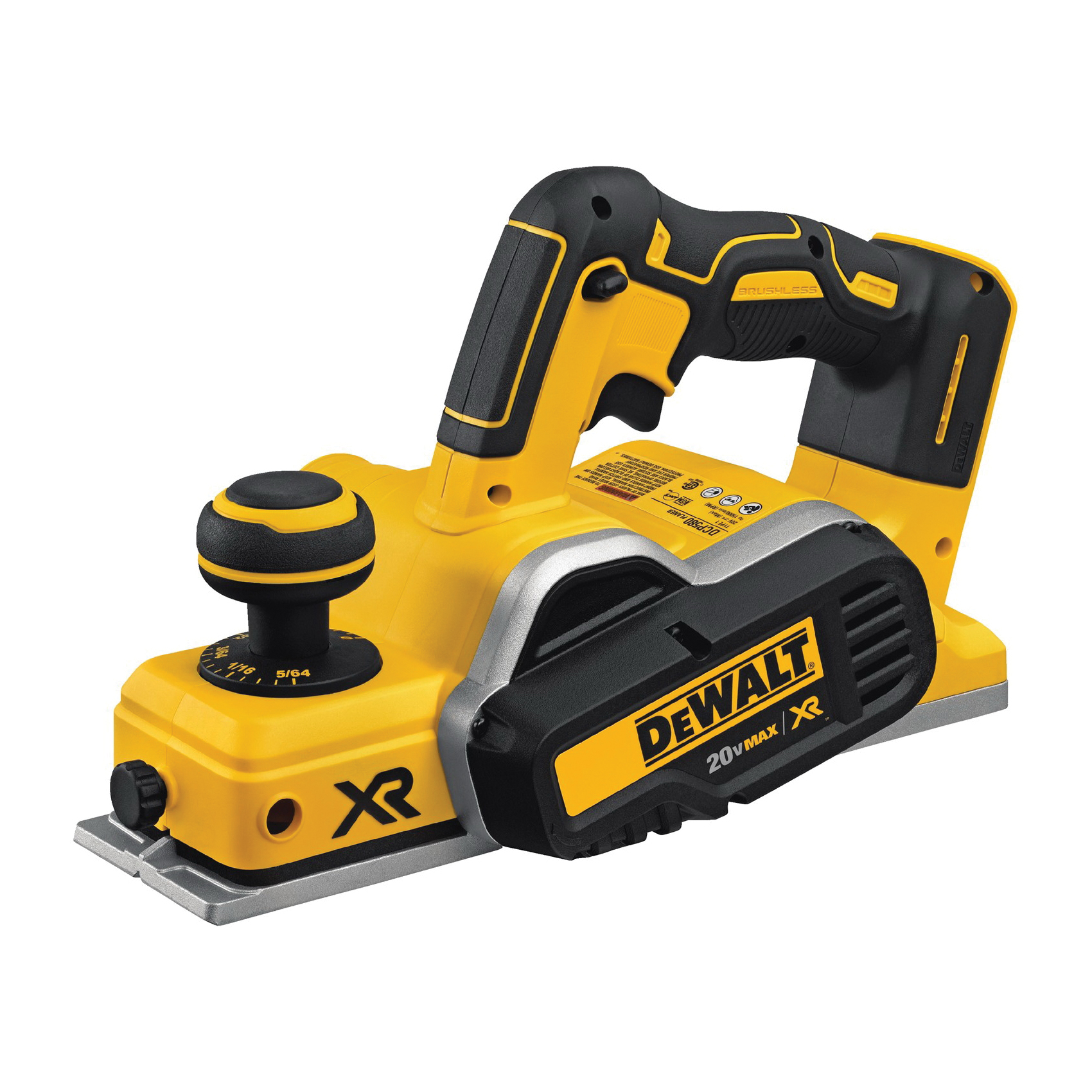 DeWALT® 20V MAX* DCP580B Brushless Portable Cordless Planer, 3-1/4 in W Cutting, 5/65 in Depth of Cut, 15000 rpm Speed, 20 V, Lithium-Ion Battery