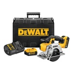 DeWALT® DCS373P2 Cordless Circular Saw Kit, 5-1/2 in Dia Blade, 20 mm Arbor/Shank, 20 VDC, 1-11/16 in at 90 deg D Cutting, Lithium-Ion Battery, Left Blade Side
