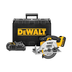 DeWALT® 20V MAX* DCS391P1 Cordless Circular Saw Kit, 6-1/2 in Dia Blade, 5/8 in Arbor/Shank, 20 VDC, 1-5/8 in at 45 deg, 2-1/4 in at 90 deg D Cutting, Lithium-Ion Battery, Left Blade Side