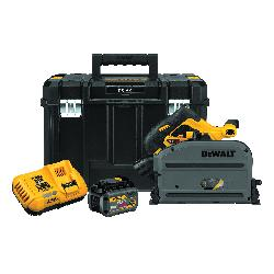 DeWALT® 60V MAX* FLEXVOLT® DCS520T1 Cordless Track Saw, 6-1/2 in Blade, 1750 to 4000 rpm Speed, 60 VDC, Lithium-Ion Battery, 6 Ah Battery