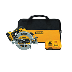 DeWALT® DCS570P1 XR® Brushless Motor Rear Pivot Cordless Circular Saw Kit, 7-1/4 in Dia Blade, 5/8 in Arbor/Shank, 20 VDC, Lithium-Ion Battery, Right Blade Side