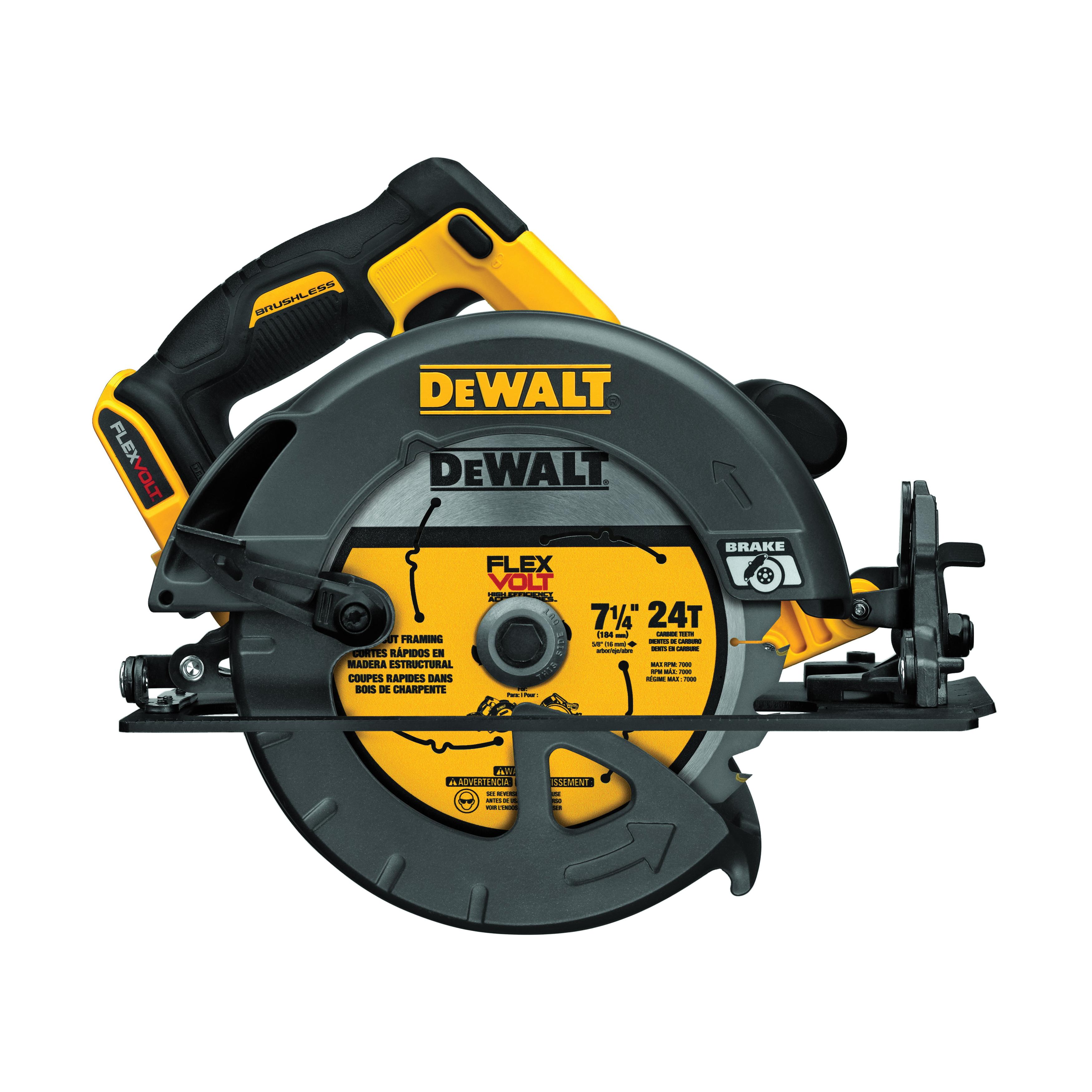 DeWALT® 60V MAX* FLEXVOLT™ DCS575B Brushless Cordless Circular Saw With Brake Bare, 7-1/4 in Blade, 5/8 in Arbor/Shank, 60 V, 1-5/8 in at 45 deg, 2-9/16 in at 90 deg D Cutting, Lithium-Ion Battery, Right Blade Side, Bare Tool