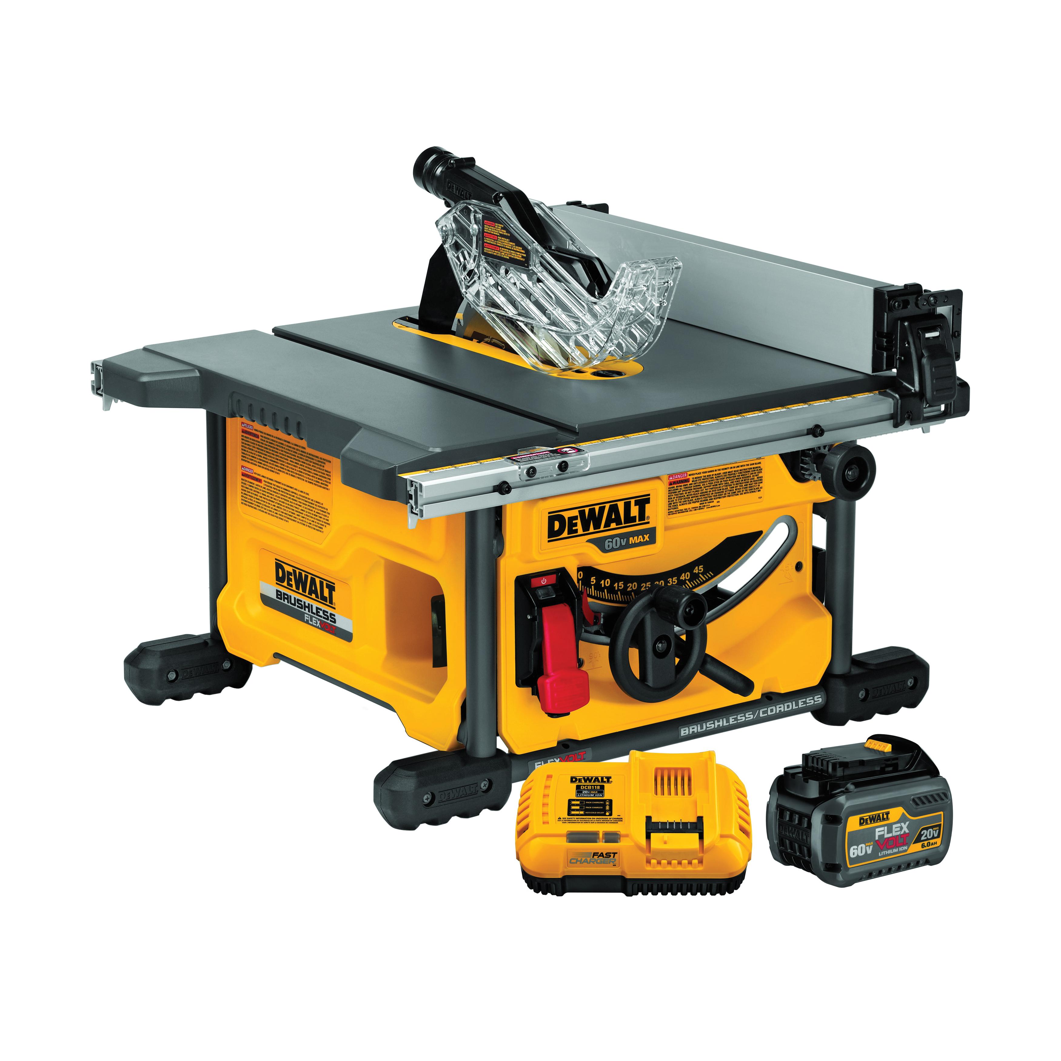 DeWALT® 60V MAX* FLEXVOLT™ DCS7485T1 Cordless Table Saw Kit, 8-1/4 in Dia Blade, 5/8 in Arbor/Shank, 1-3/4 in 45 deg Capacity, 2-1/2 in 90 deg Capacity