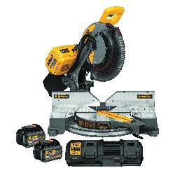 DeWALT® 120V MAX* DHS716T2 Compound Cordless Miter Saw Kit, 12 in Blade, 5/8 in Arbor/Shank, 4 x 6 in at 90 deg Cutting, 4 x 6 in at 45 deg Miter, 45 deg Bevel