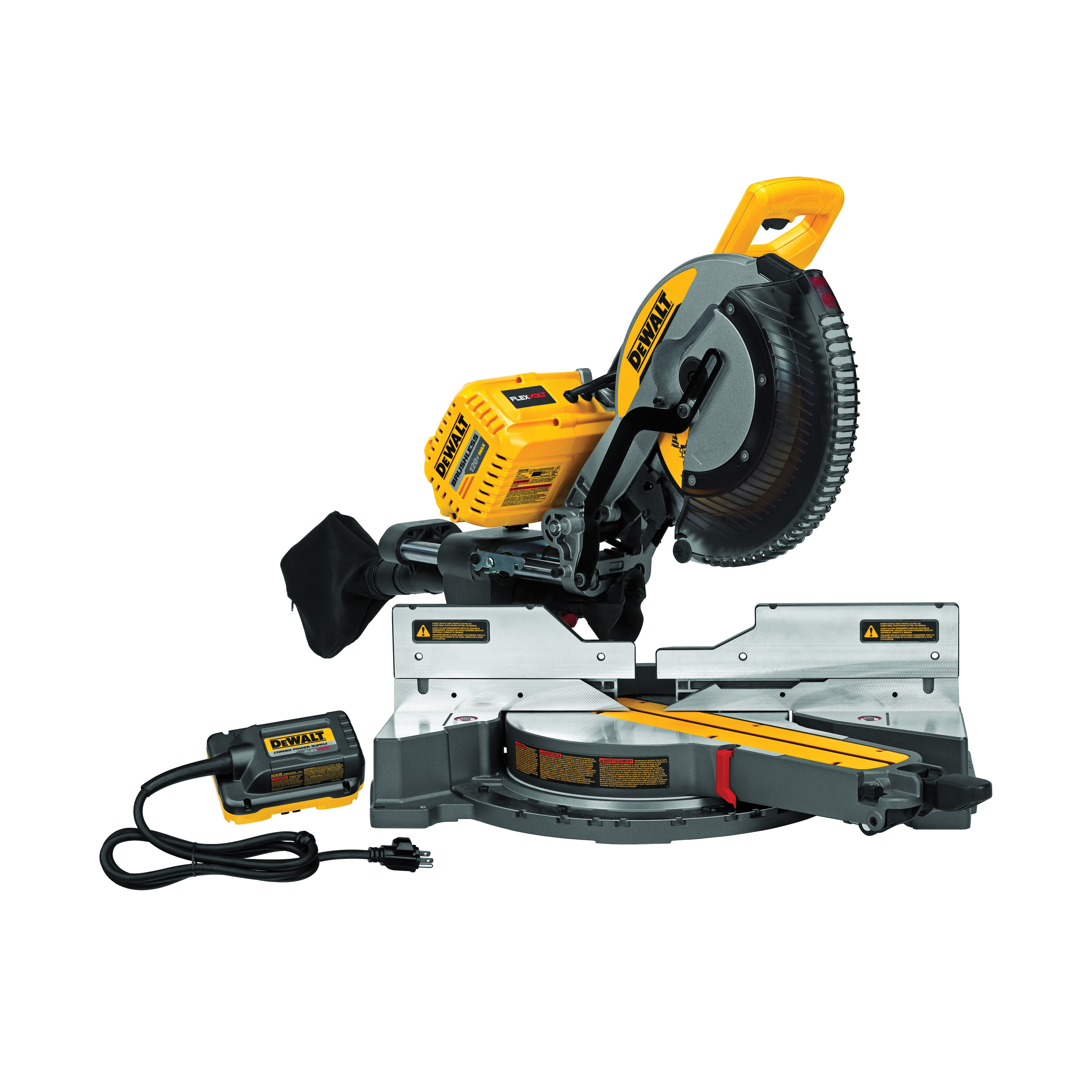 DeWALT® 120V MAX* FLEXVOLT™ DHS790AB Cordless Double Bevel Compound Miter Saw With Adapter, 12 in Dia Blade, 5/8, 1 in Arbor/Shank, 16 in Cutting, 45 deg Miter, 0 to 49 deg Bevel