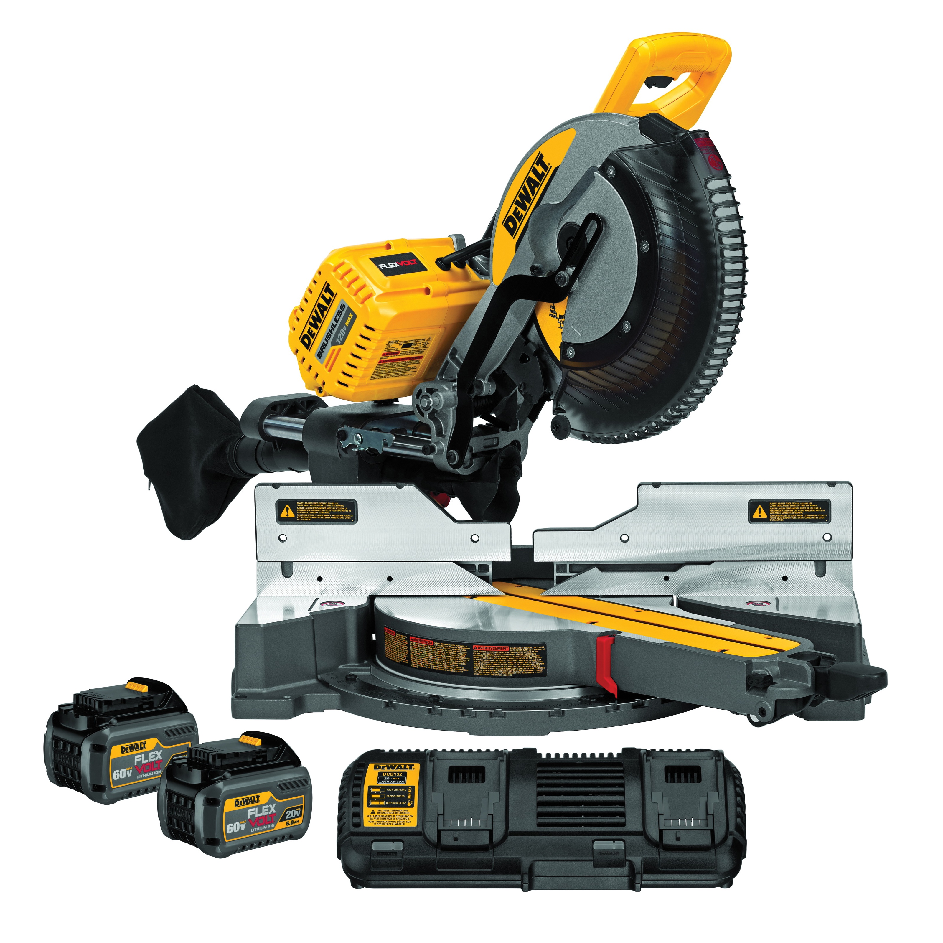 DeWALT® 120V MAX* DHS790T2 Compound Cordless Miter Saw Kit With CUTLINE™ Blade Positioning System, 12 in Blade, 5/8 in Arbor/Shank, 16 in W at 90 deg Cutting, 4 in H x 8 in W at 45 deg Miter, 45 deg Bevel