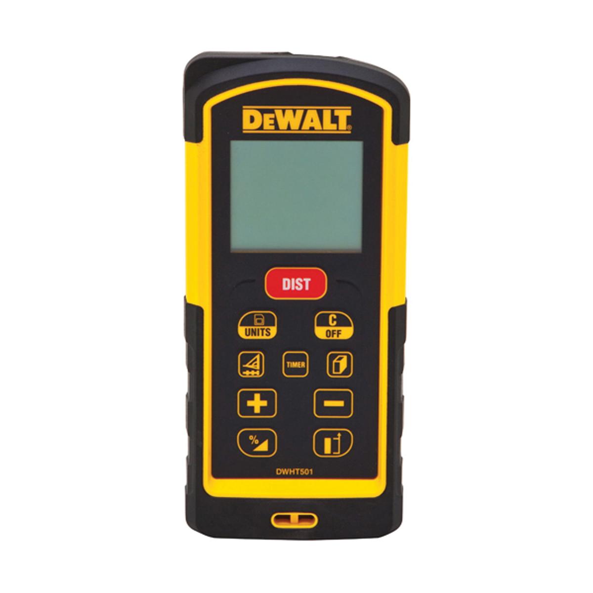 DeWALT® DW03101 Laser Distance Meter, Black/Yellow, +/-1/32 in Accuracy, (2) AAA Batteries, LCD Display