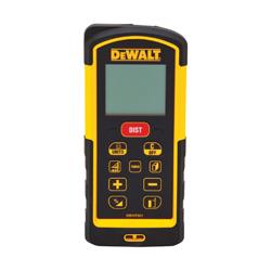 DeWALT® DW03101 Laser Distance Meter, +/-1/32 in, (2) AAA Batteries, LCD Display, Black/Yellow