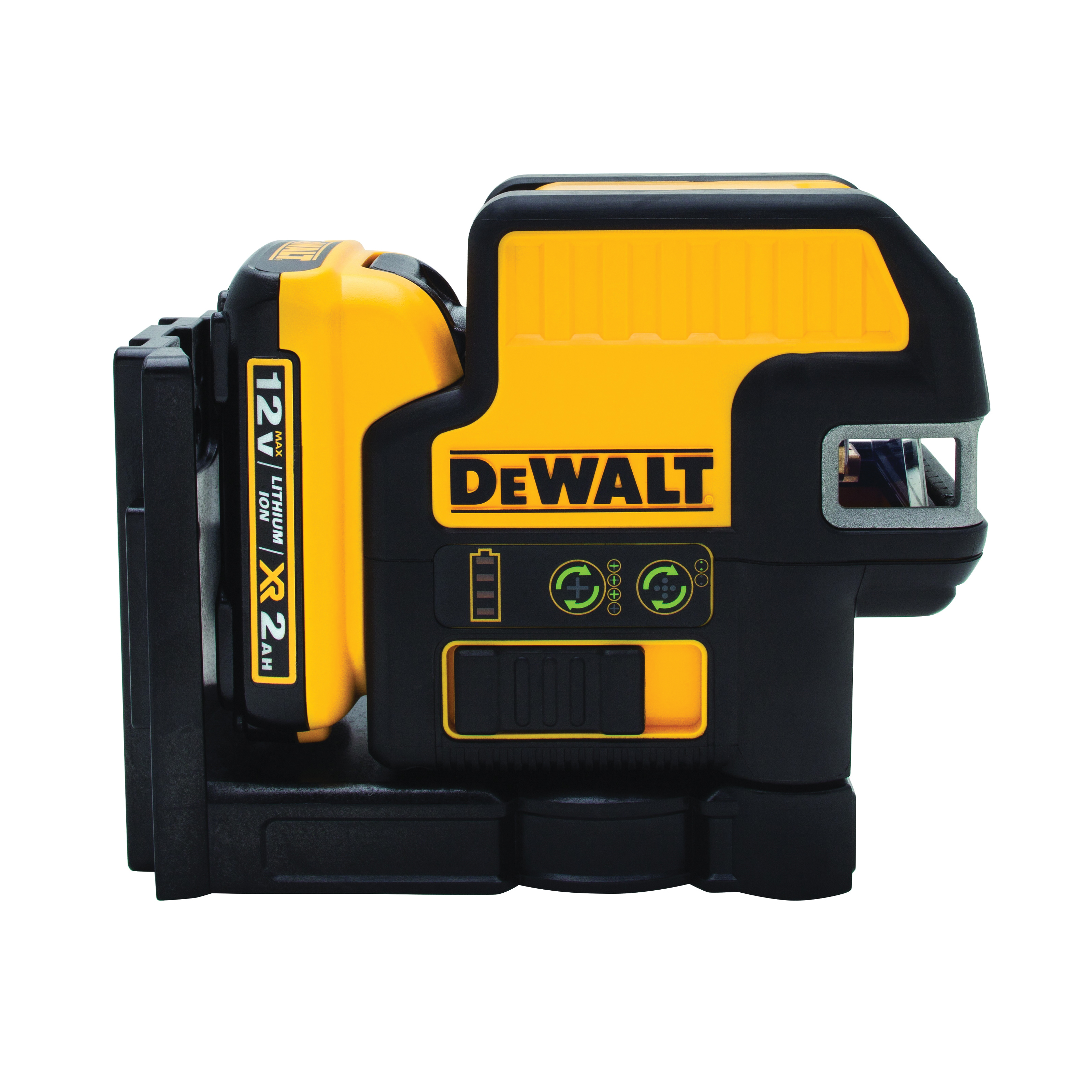 **Sale! Add to cart, save 15% more  - DeWALT® 12V MAX* DW0822LG 2-Spot Cordless Cross Line Laser Kit, 165 ft Measuring, +/-1/8 in at 100 ft Accuracy, 12 VDC, Lithium-Ion Battery, Plastic Housing