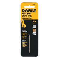 Black+Decker® Guaranteed Tough® Cobalt Pilot Point® DW1204 Pilot Point Drill Bit, 1/16 in Drill - Fraction, 0.0625 in Drill - Decimal Inch, 7/8 in L Flute, Cobalt