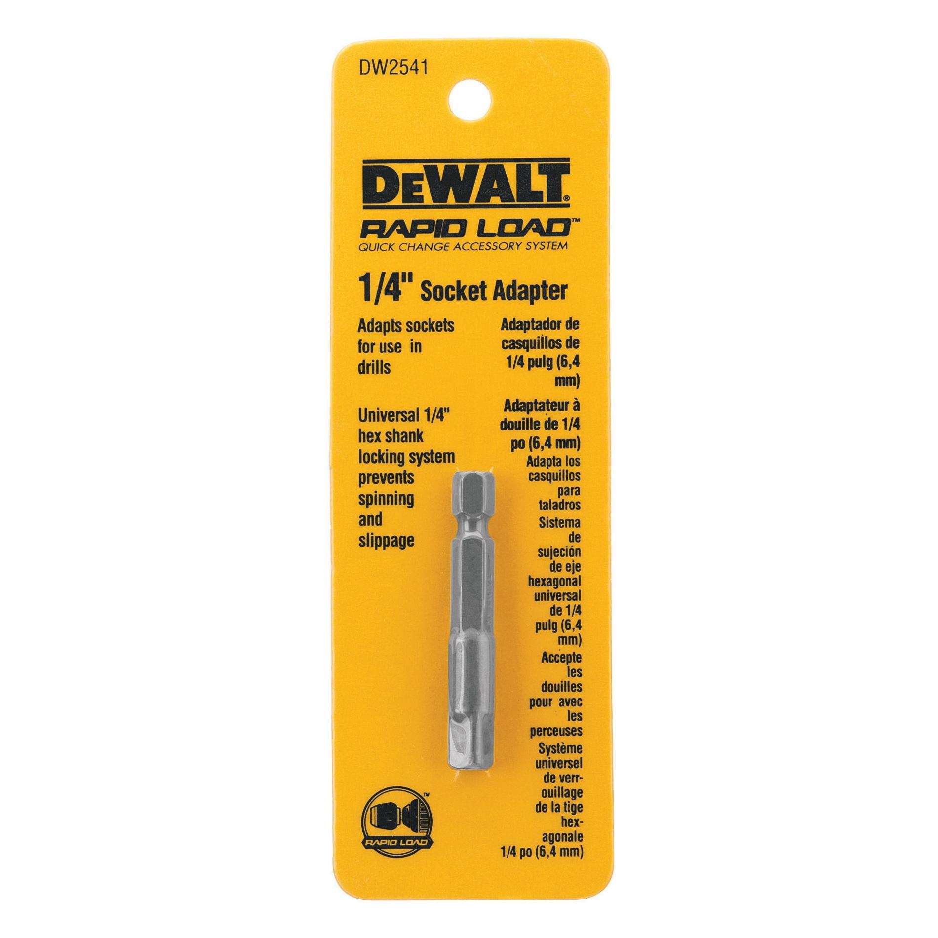 DeWALT® DW2541 Socket Adapter, Black Oxide, 1/4 in Male Drive, 1/4 in Female Drive, Hardened Steel