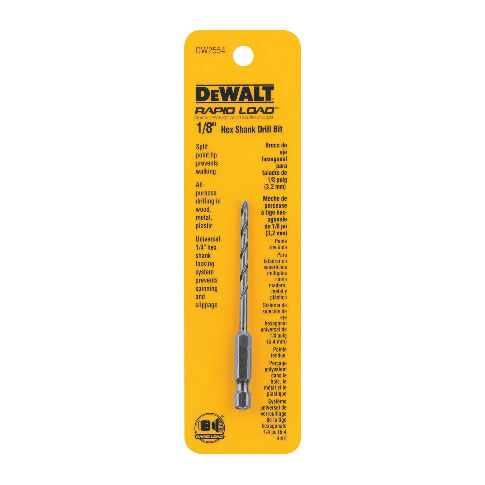 DeWALT® DW2554 Multi-Purpose Multi-Purpose Hex Shank Drill Bit, 1/8 in Drill - Fraction, 0.125 in Drill - Decimal Inch, 1.12 in D Cutting