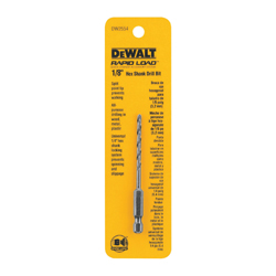DeWALT® DW2554 Multi-Purpose Multi-Purpose Hex Shank Drill Bit, 1/8 in Drill - Fraction, 0.125 in Drill - Decimal Inch, 1.12 in D Cutting