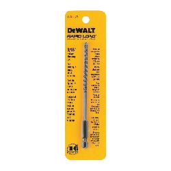 DeWALT® DW2573 Rapid Load® Masonry Drill Bit, 3/16 in Drill Bit, 1/4 in Hex/Straight Shank, 3 in D Cutting, Carbide Cutting Edge