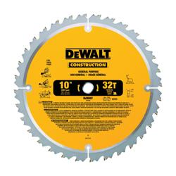 DeWALT® DW3103 Series 20™ Large Diameter Large Diameter Circular Saw Blade, 10 in Dia x 0.069 in THK, 5/8 in Arbor, Steel Blade, 32 Teeth