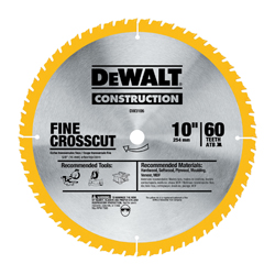 DeWALT® DW3106P5 20™ Large Diameter Circular Saw Blade Combo Kit, 2 Pieces, 5/8 in Arbor, 5 deg Hook Angle, 32/60 ATB Teeth, 7000 rpm Maximum Speed, 4 in D Cutting, 0.095 in Kerf, Carbide/Steel, Anti-Stick Coated