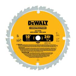 DeWALT® DW3112 Series 20™ Fast Ripping Large Diameter Fast Ripping Large Diameter Circular Saw Blade, 10 in Dia x 0.069 in THK, 5/8 in Arbor, Steel Blade, 24 Teeth