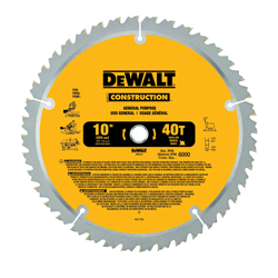 DeWALT® DW3114 20™ General Purpose Large Diameter Circular Saw Blade, 10 in Dia x 0.071 in THK, 5/8 in Arbor, Steel Blade, 40 Teeth