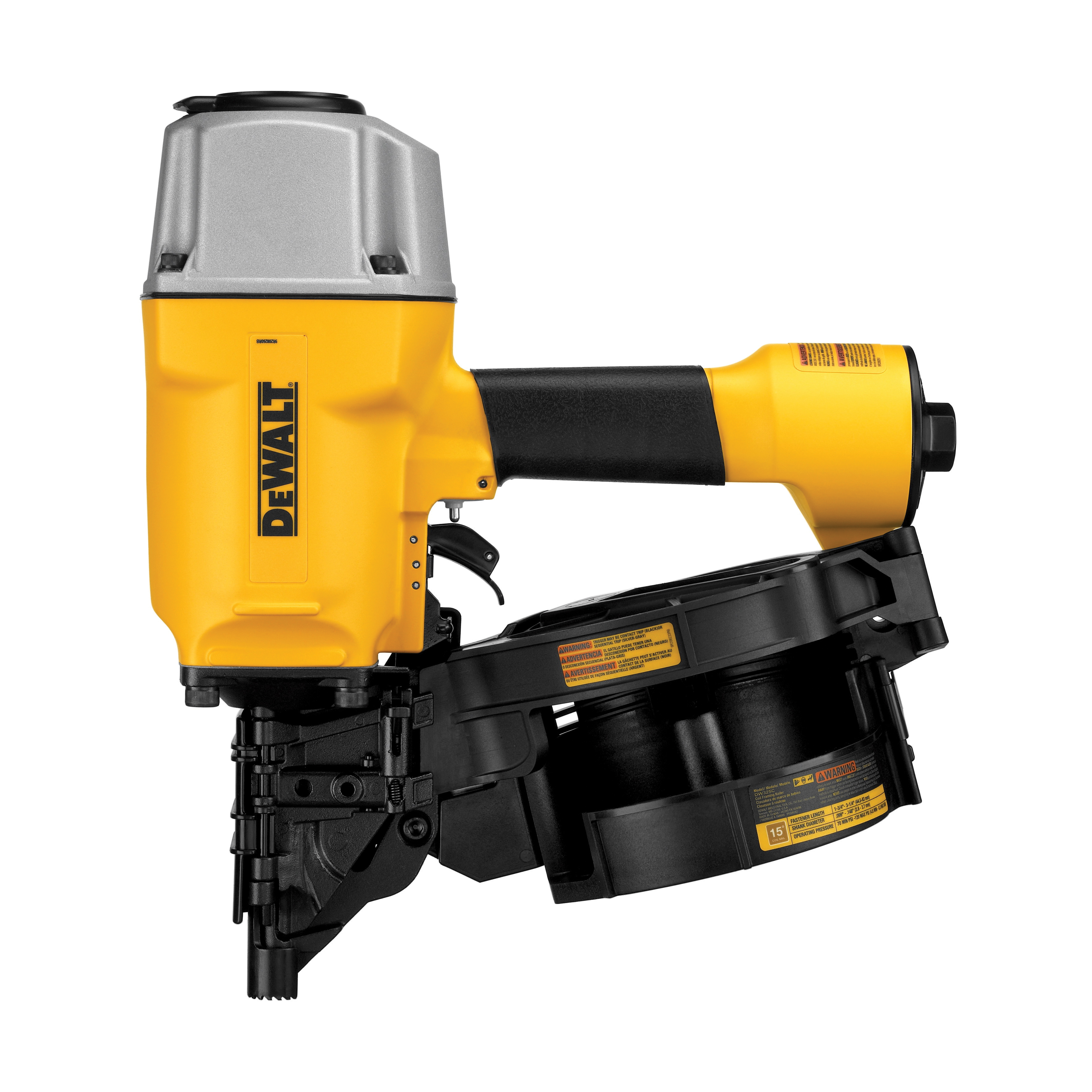 DeWALT® DW325C Heavy Duty Coil Framing Nailer, 2 to 3-1/4 in Fastener, Coil Collation, 200 Nails Magazine, 70 to 120 psi