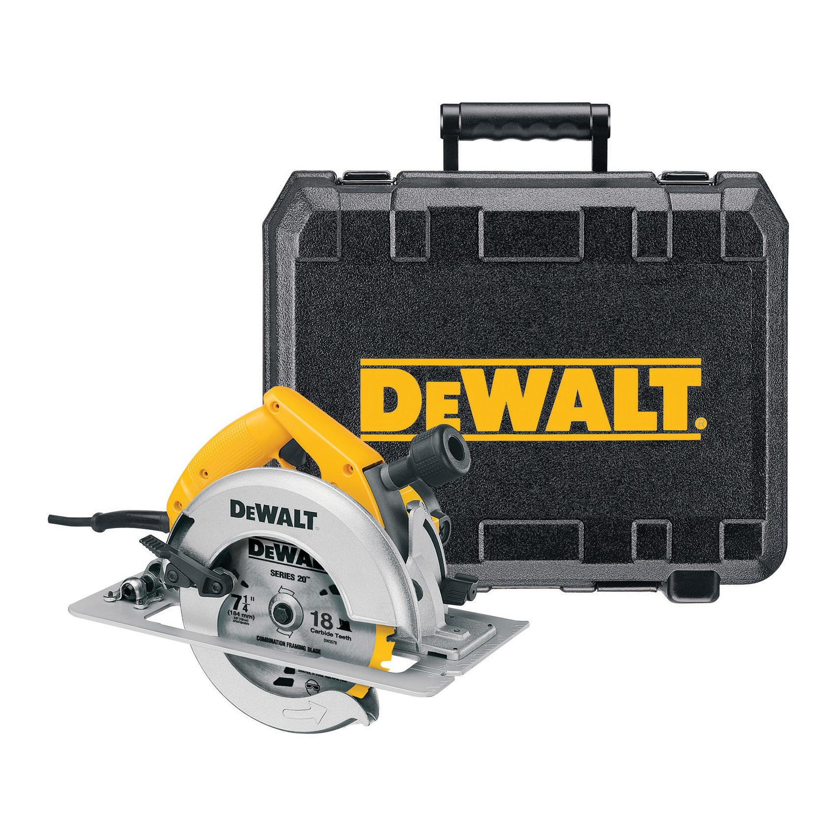 DeWALT® DW364K Circular Saw Kit, 7-1/4 in Dia Blade, 5/8 in Arbor/Shank, 1-7/8 in at 45 deg, 2-7/16 in at 90 deg Cutting, Right Blade Side