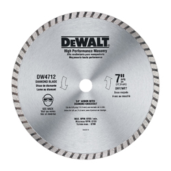 DeWALT® DW4712B Turbo Diamond Blade, 7 in Dia Blade, 5/8, 7/8 in Arbor/Shank
