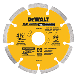 DeWALT® DW4740 Extended Performance Segmented Rim Diamond Saw Blade, 4-1/2 in Blade, 7/8 in, 1-1/4 in D Cutting, Dry Cutting