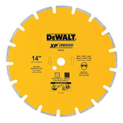 DeWALT® DW4746 Extended Performance Extended Performance Segmented Diamond Blade, 1 ft 3 in Dia Blade, 4 in D Cutting, 1 in/20 mm Arbor/Shank, Dry Cutting